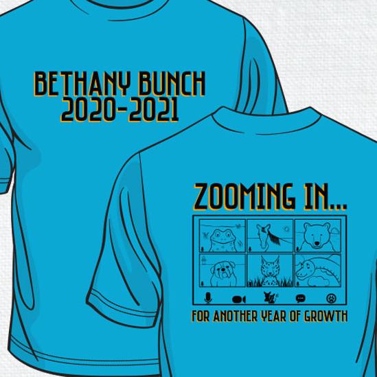 Turquoise background with Zoom Teleconferance image of Bethany Mascots