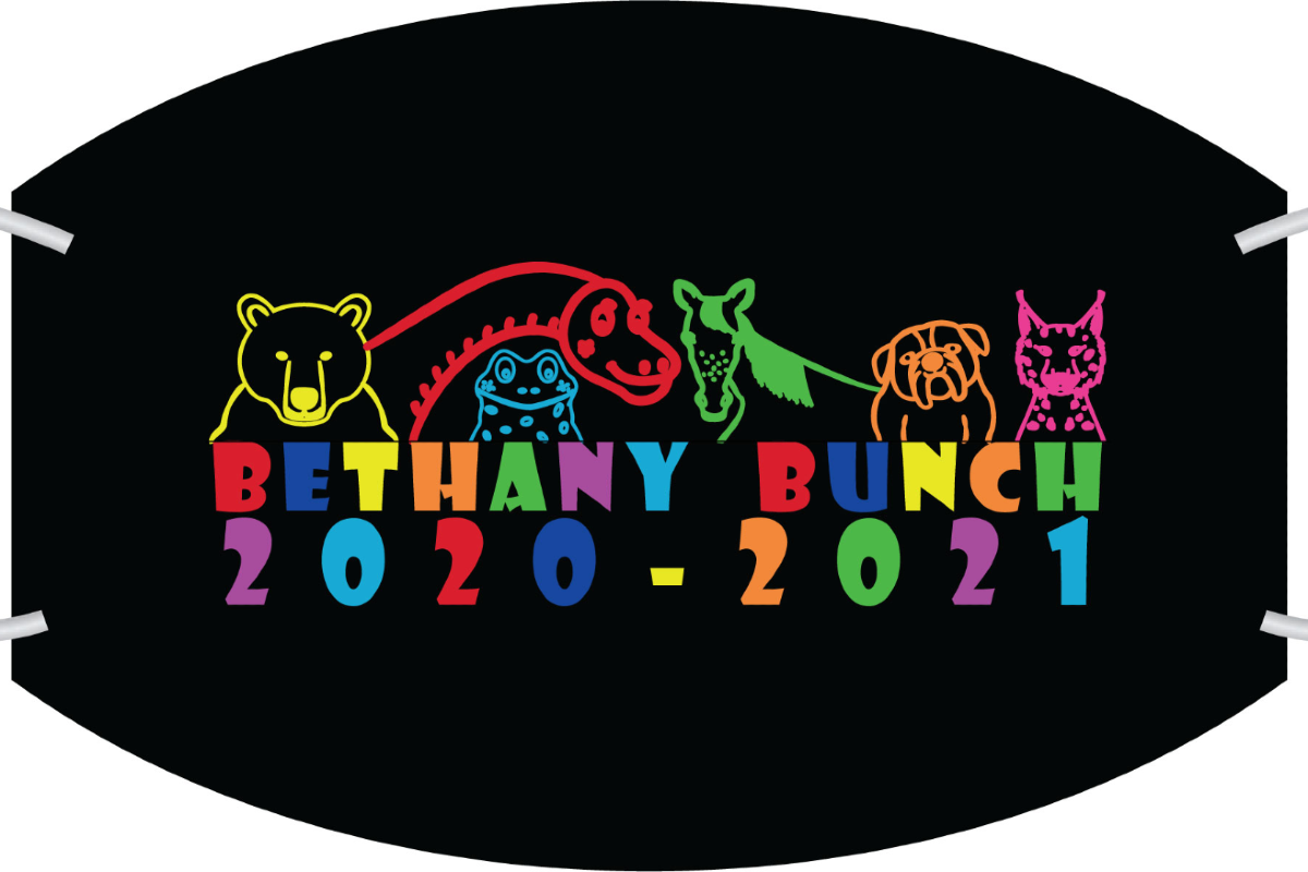 Black mask background with colorful Bethany mascots above the words Bethany Bunch 2020-2021